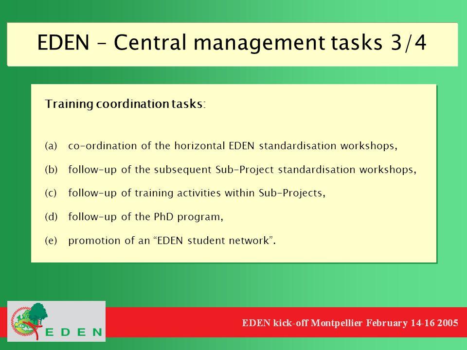 EDEN – Central management tasks 3/4 Training coordination tasks: (a)co-ordination of the horizontal EDEN standardisation workshops, (b)follow-up of th