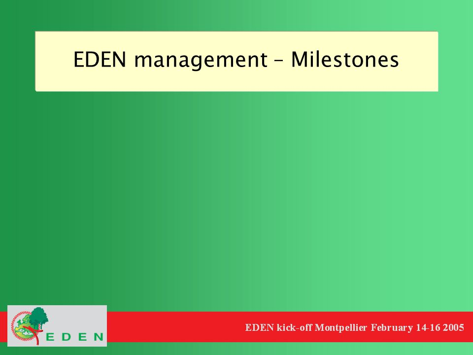 EDEN management – Milestones