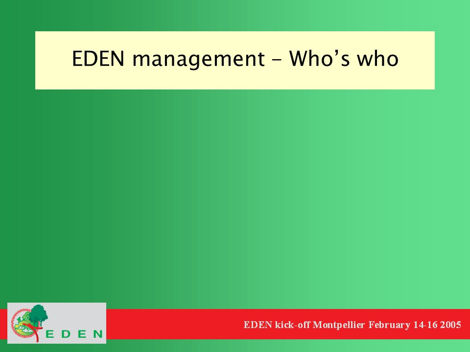 EDEN management - Who's who