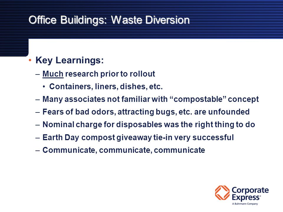 Office Buildings: Waste Diversion Key Learnings: –Much research prior to rollout Containers, liners, dishes, etc.