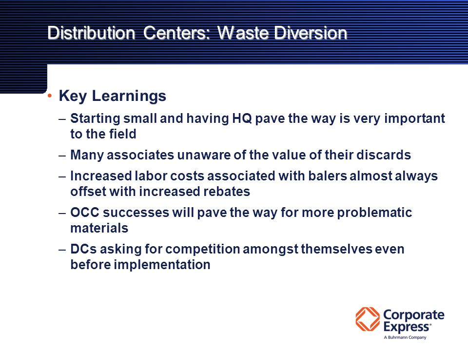 Distribution Centers: Waste Diversion Key Learnings –Starting small and having HQ pave the way is very important to the field –Many associates unaware of the value of their discards –Increased labor costs associated with balers almost always offset with increased rebates –OCC successes will pave the way for more problematic materials –DCs asking for competition amongst themselves even before implementation