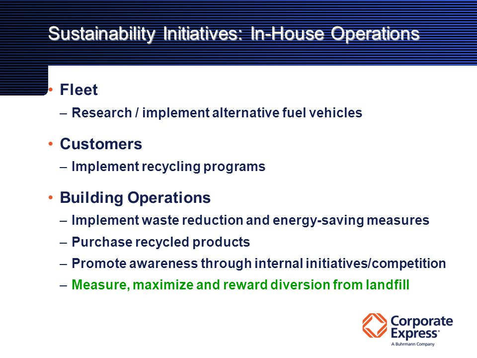 Sustainability Initiatives: In-House Operations Fleet –Research / implement alternative fuel vehicles Customers –Implement recycling programs Building Operations –Implement waste reduction and energy-saving measures –Purchase recycled products –Promote awareness through internal initiatives/competition –Measure, maximize and reward diversion from landfill