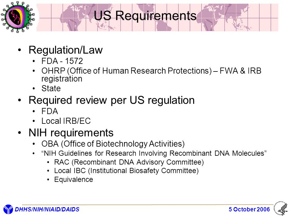 DHHS/NIH/NIAID/DAIDS 5 October 2006 US Requirements Regulation/Law FDA - 1572 OHRP (Office of Human Research Protections) – FWA & IRB registration Sta
