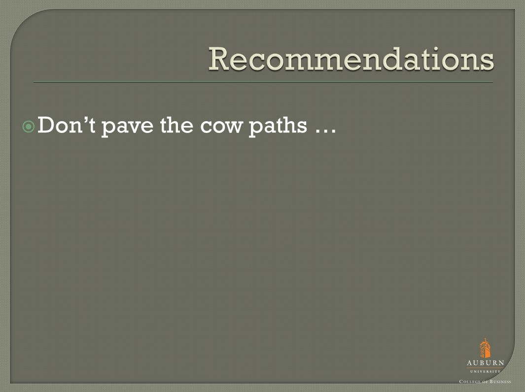  Don't pave the cow paths …