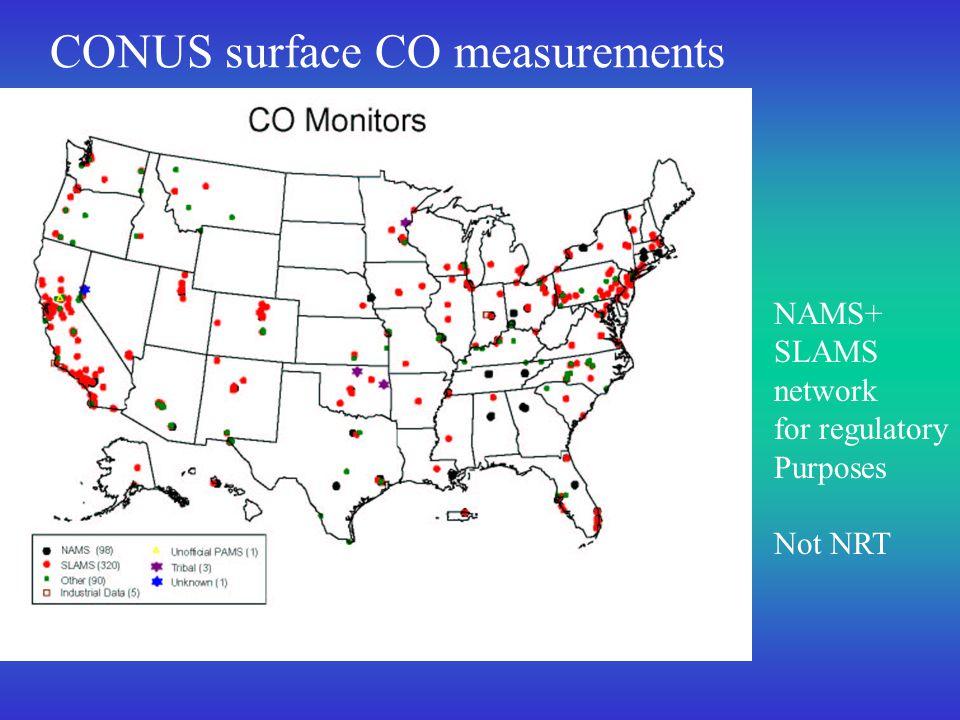 CONUS surface CO measurements NAMS+ SLAMS network for regulatory Purposes Not NRT