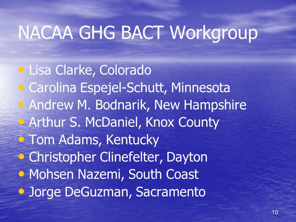 10 NACAA GHG BACT Workgroup Lisa Clarke, Colorado Carolina Espejel-Schutt, Minnesota Andrew M.