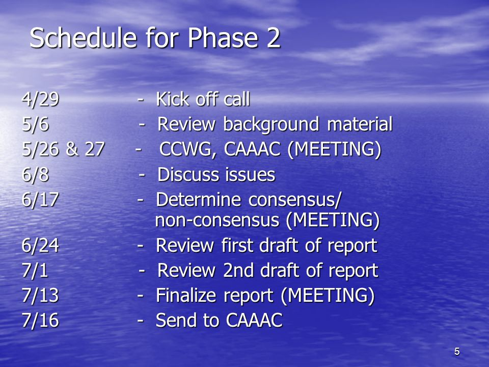16 Subgroup Areas of Phase I Report I.