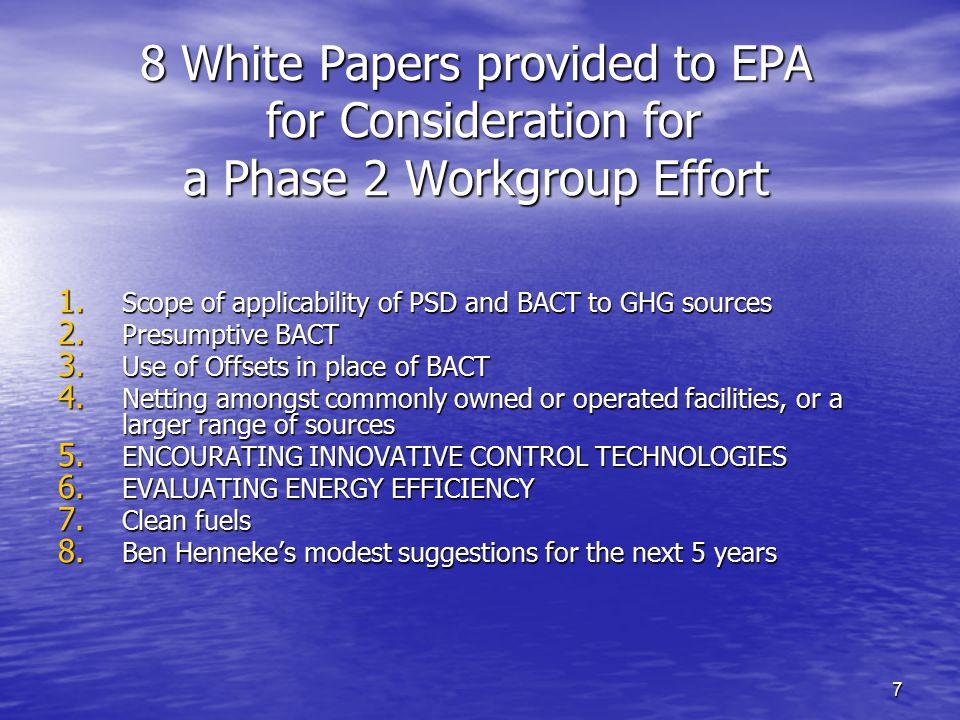 18 II.Criteria for Determining Feasibility Control Technologies A.