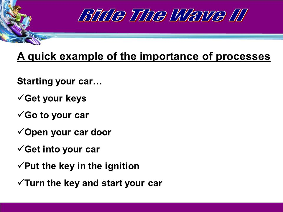 A quick example of the importance of processes Starting your car… Get your keys Go to your car Open your car door Get into your car Put the key in the ignition Turn the key and start your car