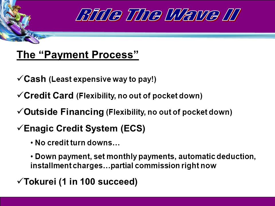 The Payment Process Cash (Least expensive way to pay!) Credit Card (Flexibility, no out of pocket down) Outside Financing (Flexibility, no out of pocket down) Enagic Credit System (ECS) No credit turn downs… Down payment, set monthly payments, automatic deduction, installment charges…partial commission right now Tokurei (1 in 100 succeed)