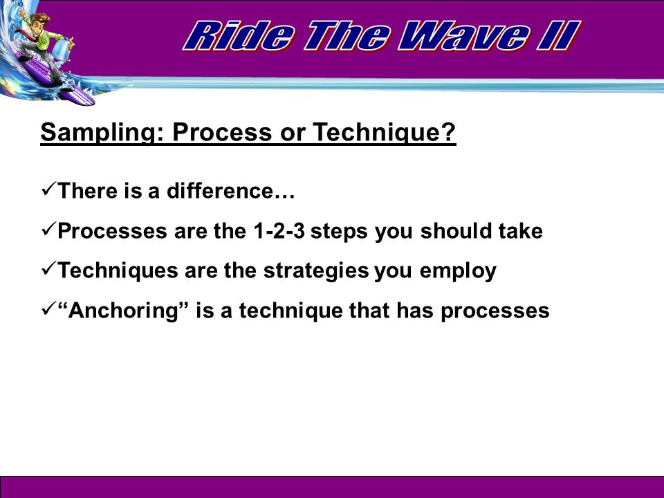 Sampling Process Overview 1.Get them to say Yes (one shot at a time) 2.