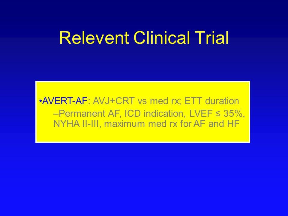 Relevent Clinical Trial AVERT-AF: AVJ+CRT vs med rx; ETT duration –Permanent AF, ICD indication, LVEF ≤ 35%, NYHA II-III, maximum med rx for AF and HF