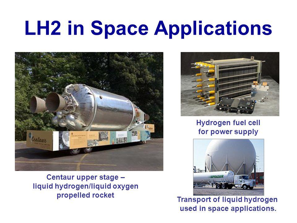 LH2 in Space Applications Centaur upper stage – liquid hydrogen/liquid oxygen propelled rocket Transport of liquid hydrogen used in space applications.