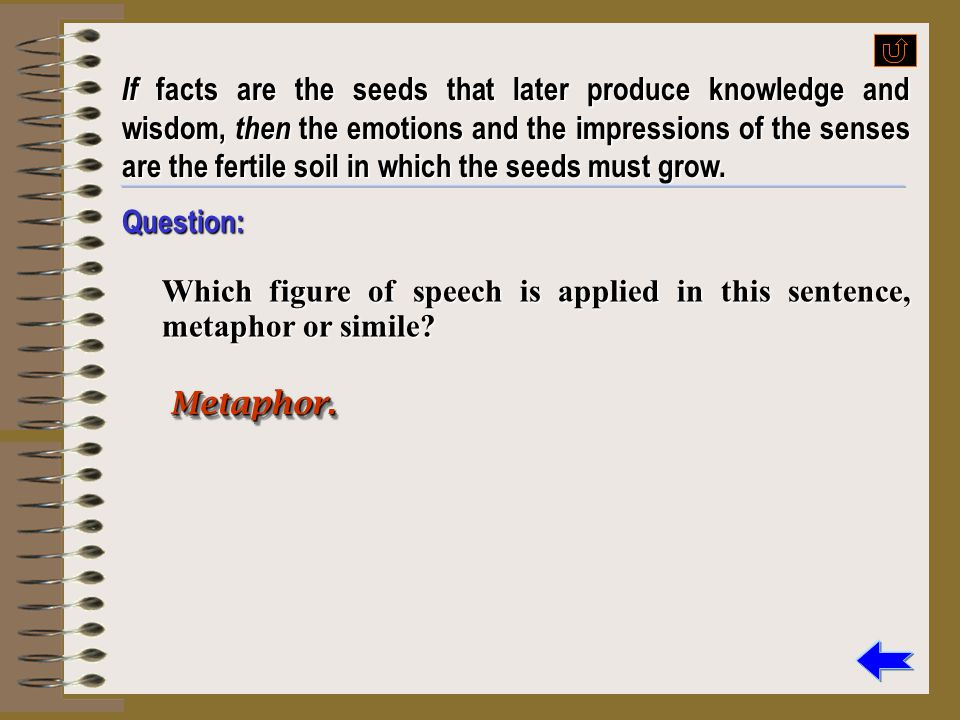 If facts are the seeds that later produce knowledge and wisdom, then the emotions and the impressions of the senses are the fertile soil in which the