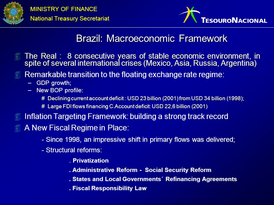 MINISTRY OF FINANCE National Treasury Secretariat Source: Central Bank of Brazil Fiscal policy: Primary targets met for 13 consecutive quarters...