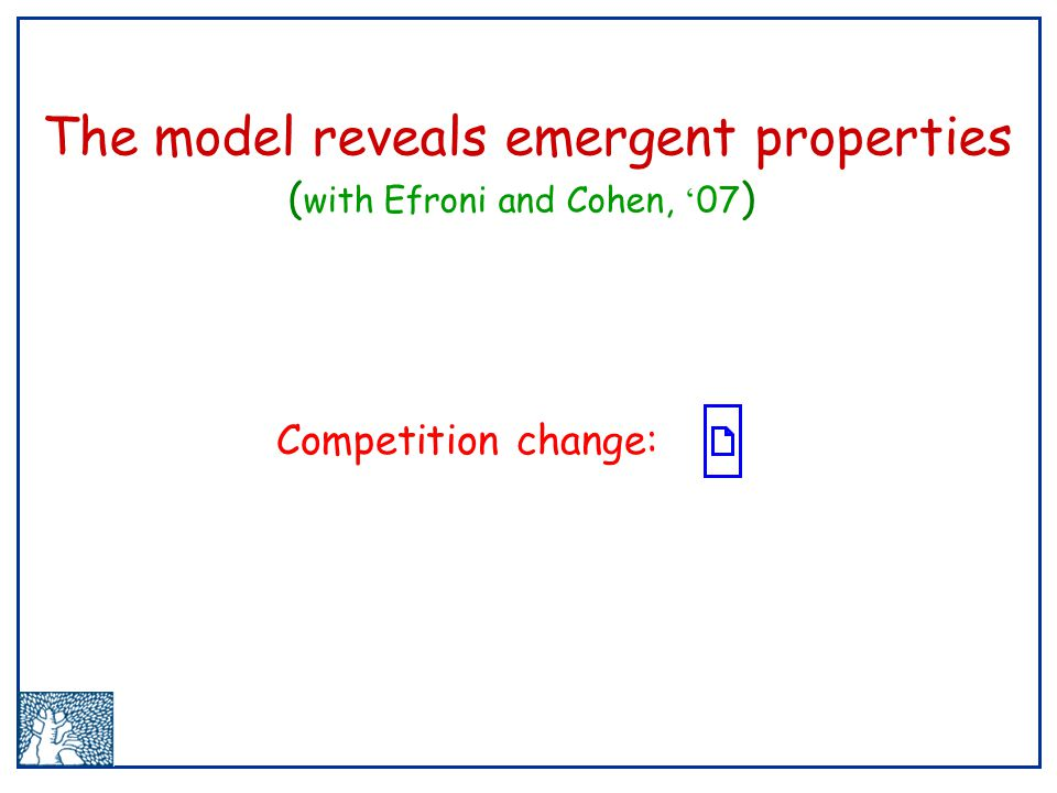 The model reveals emergent properties ( with Efroni and Cohen, ' 07 ) Competition change: