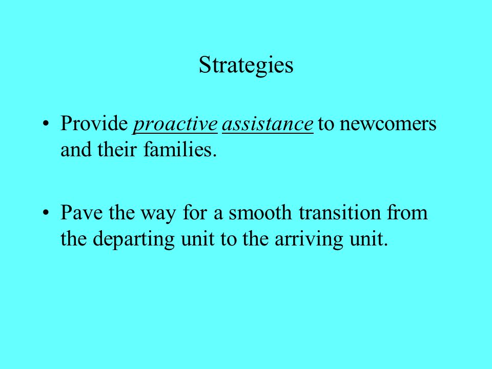 Strategies Provide proactive assistance to newcomers and their families.