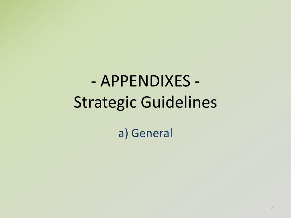 - APPENDIXES - Strategic Guidelines a) General 4