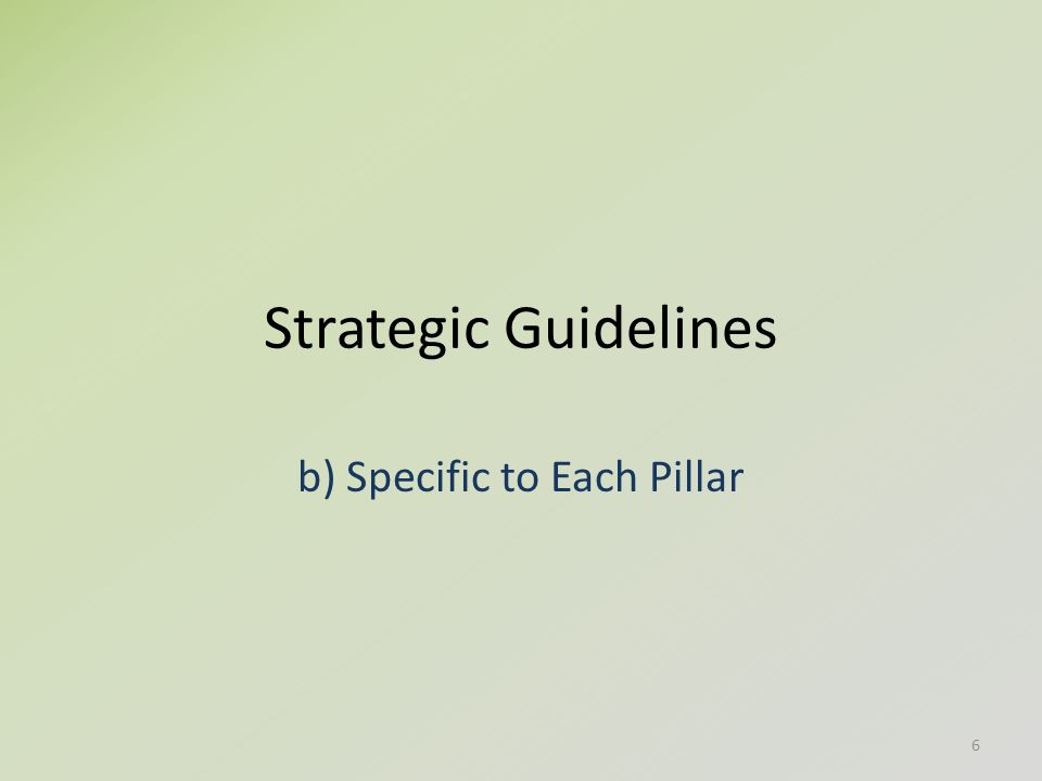 Strategic Guidelines b) Specific to Each Pillar 6