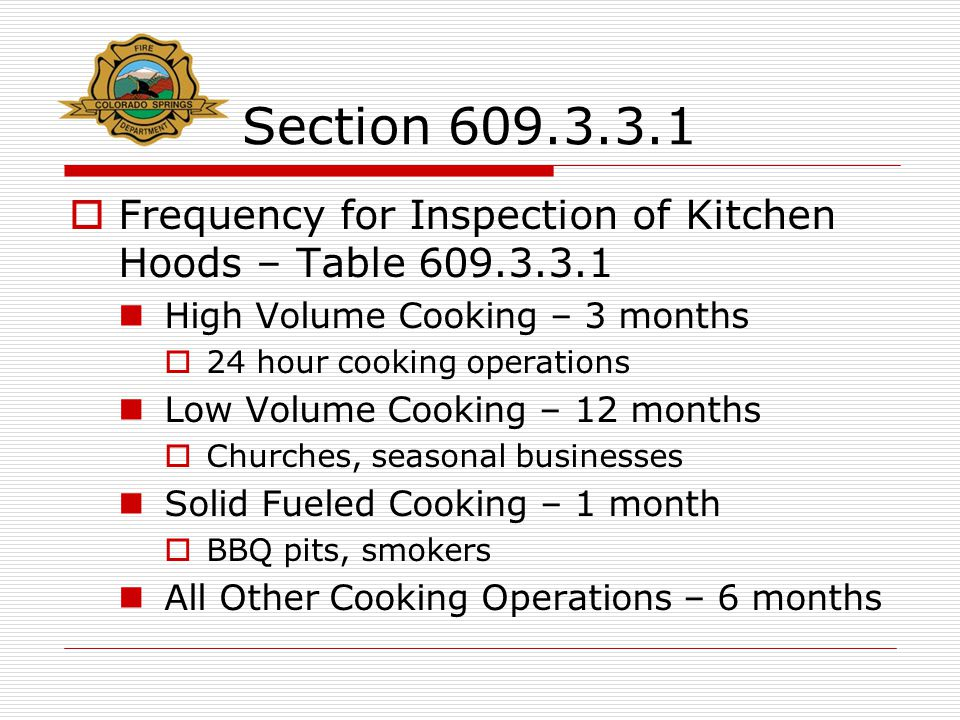 Section 609.3.3.1  Frequency for Inspection of Kitchen Hoods – Table 609.3.3.1 High Volume Cooking – 3 months  24 hour cooking operations Low Volume Cooking – 12 months  Churches, seasonal businesses Solid Fueled Cooking – 1 month  BBQ pits, smokers All Other Cooking Operations – 6 months