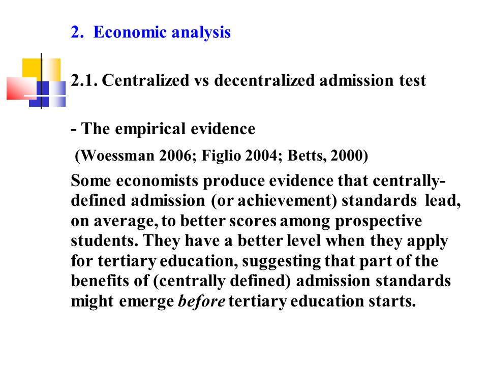 2. Economic analysis 2.1.