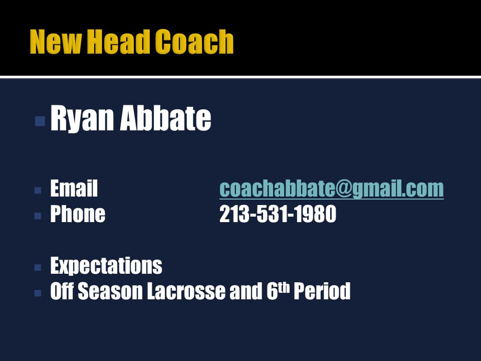  Ryan Abbate  Email coachabbate@gmail.comcoachabbate@gmail.com  Phone213-531-1980  Expectations  Off Season Lacrosse and 6 th Period