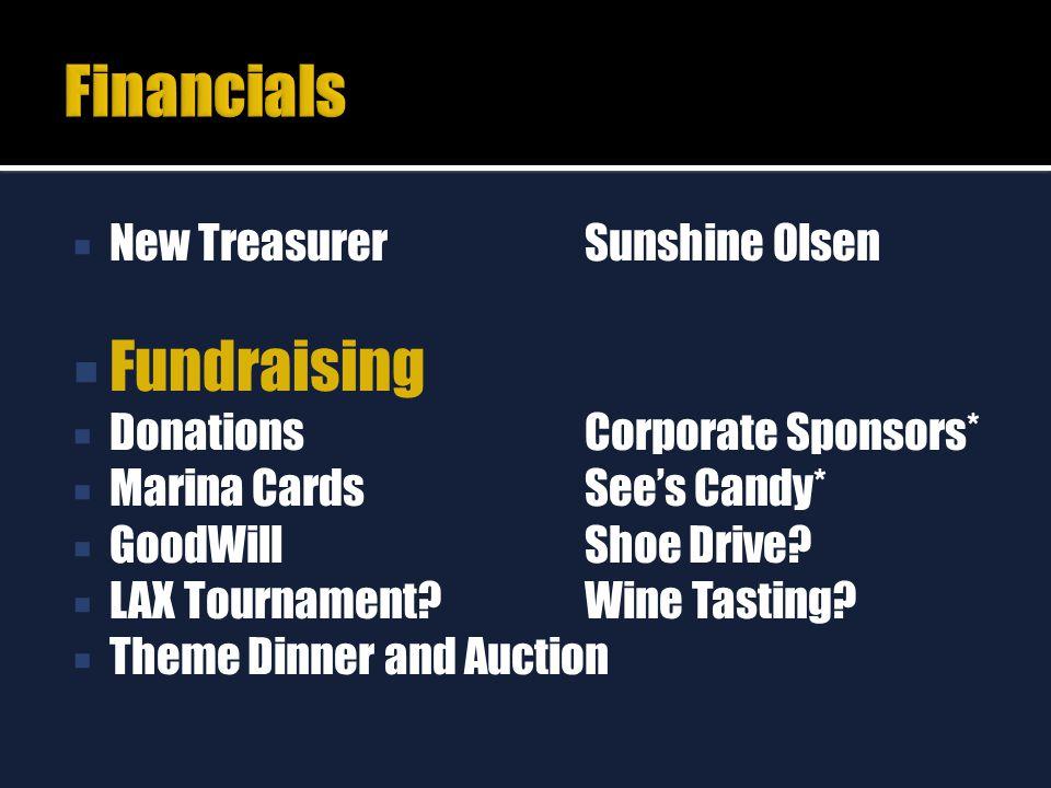  New Treasurer Sunshine Olsen  Fundraising  DonationsCorporate Sponsors*  Marina CardsSee's Candy*  GoodWillShoe Drive?  LAX Tournament?Wine Tas