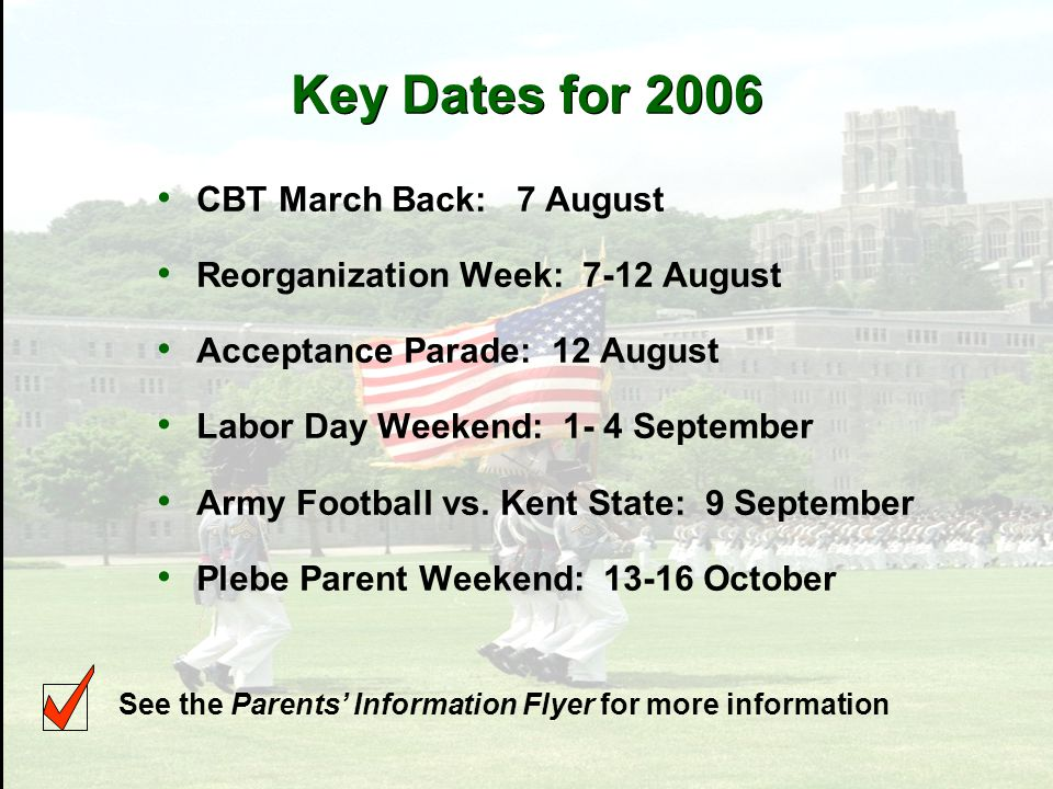 Key Dates for 2006 CBT March Back: 7 August Reorganization Week: 7-12 August Acceptance Parade: 12 August Labor Day Weekend: 1- 4 September Army Football vs.