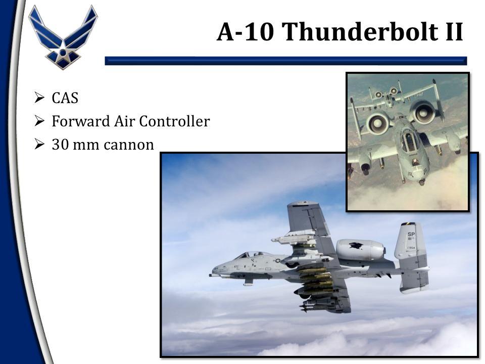  CAS  Forward Air Controller  30 mm cannon A-10 Thunderbolt II