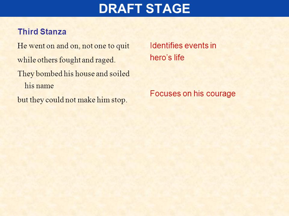 DRAFT STAGE Third Stanza He went on and on, not one to quit while others fought and raged. They bombed his house and soiled his name but they could no