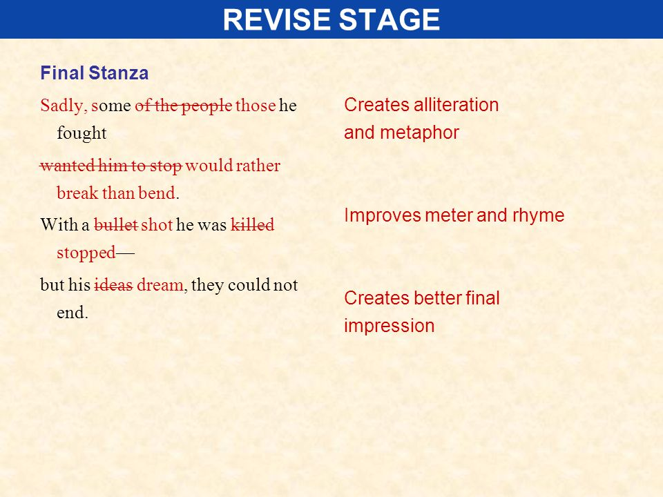 REVISE STAGE Final Stanza Sadly, some of the people those he fought wanted him to stop would rather break than bend. With a bullet shot he was killed