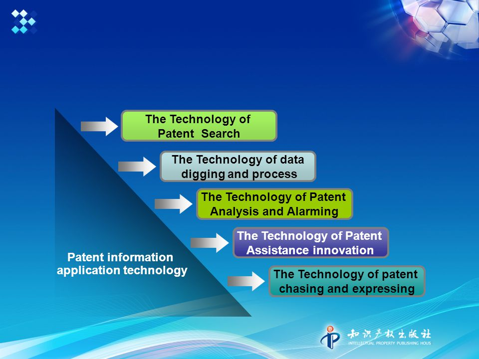 Patent information application technology The Technology of Patent Search The Technology of data digging and process The Technology of Patent Analysis and Alarming The Technology of Patent Assistance innovation The Technology of patent chasing and expressing