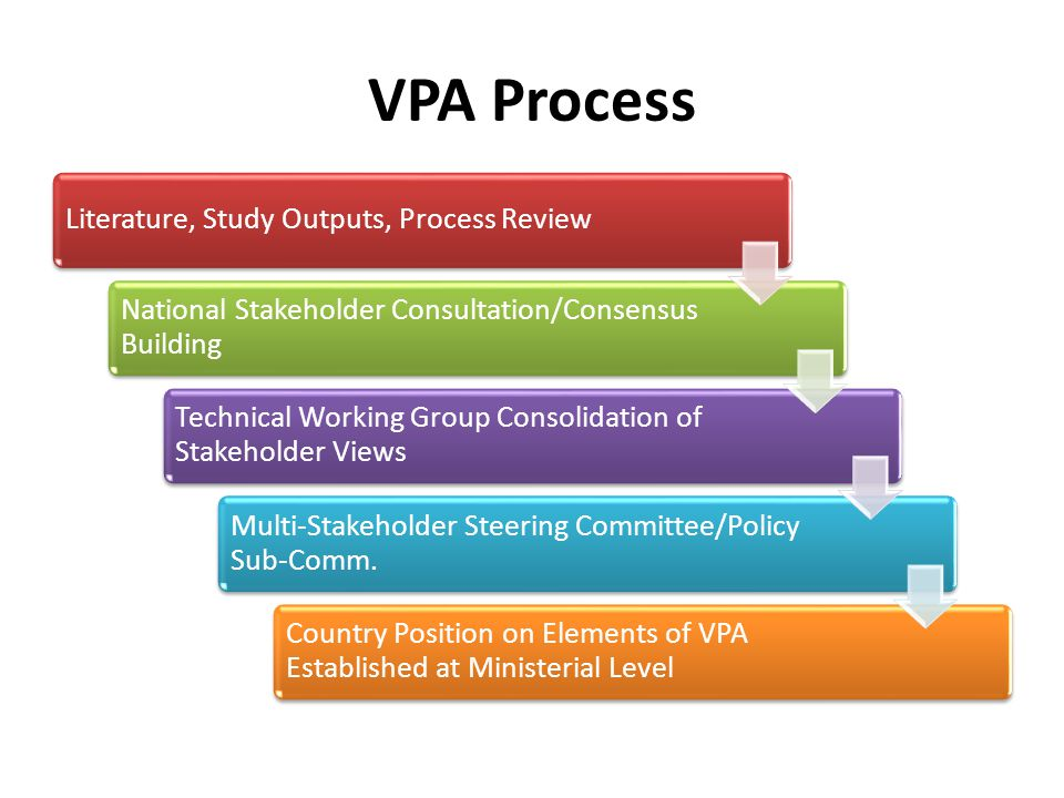 VPA Process Literature, Study Outputs, Process Review National Stakeholder Consultation/Consensus Building Technical Working Group Consolidation of Stakeholder Views Multi-Stakeholder Steering Committee/Policy Sub-Comm.
