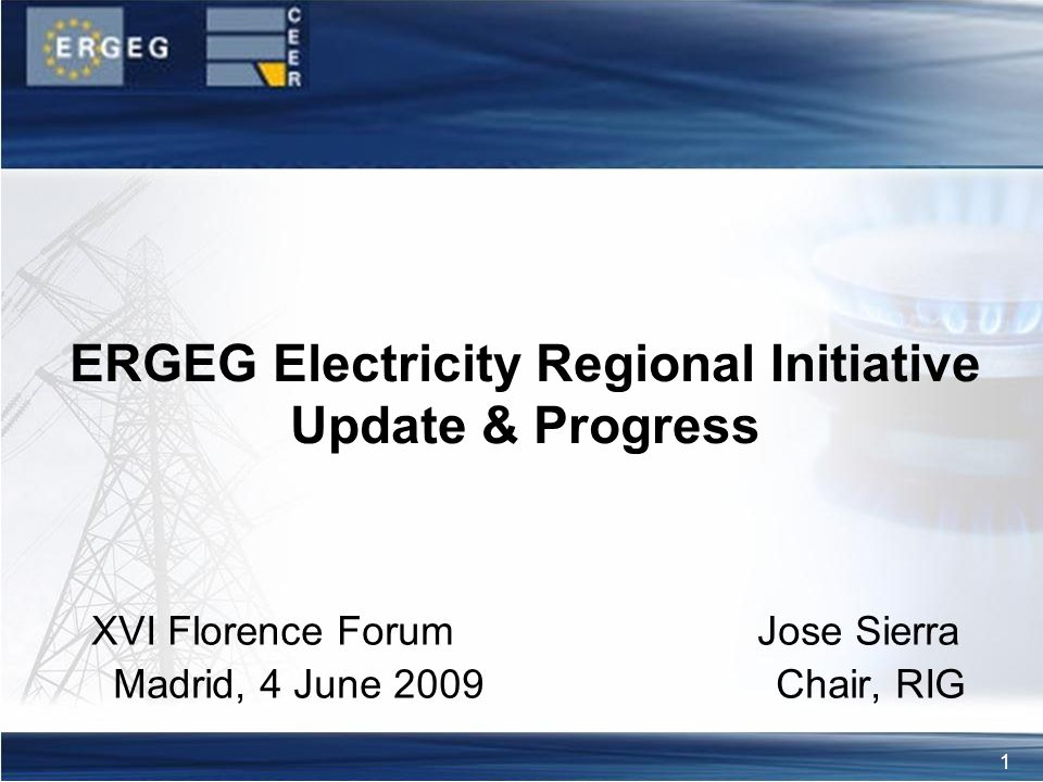 1 XVI Florence Forum Jose Sierra Madrid, 4 June 2009 Chair, RIG ERGEG Electricity Regional Initiative Update & Progress