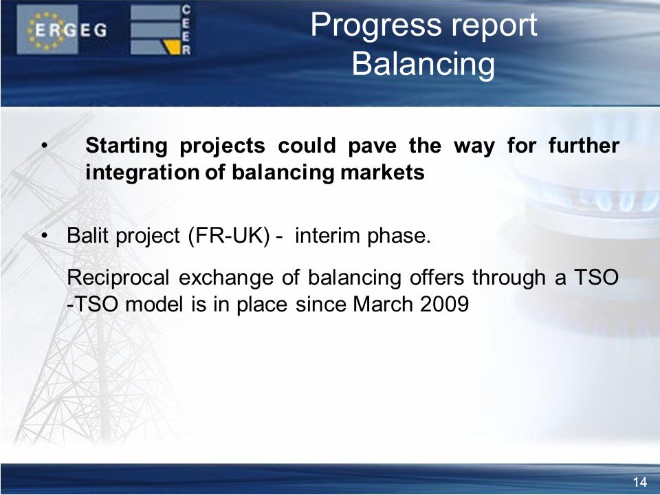 14 Progress report Balancing Starting projects could pave the way for further integration of balancing markets Balit project (FR-UK) - interim phase.
