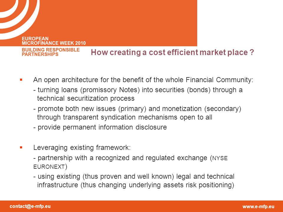 contact@e-mfp.eu www.e-mfp.eu How creating a cost efficient market place .