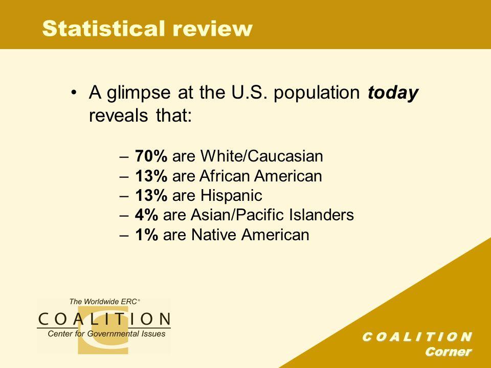 C O A L I T I O N Corner Statistical review A glimpse at the U.S.