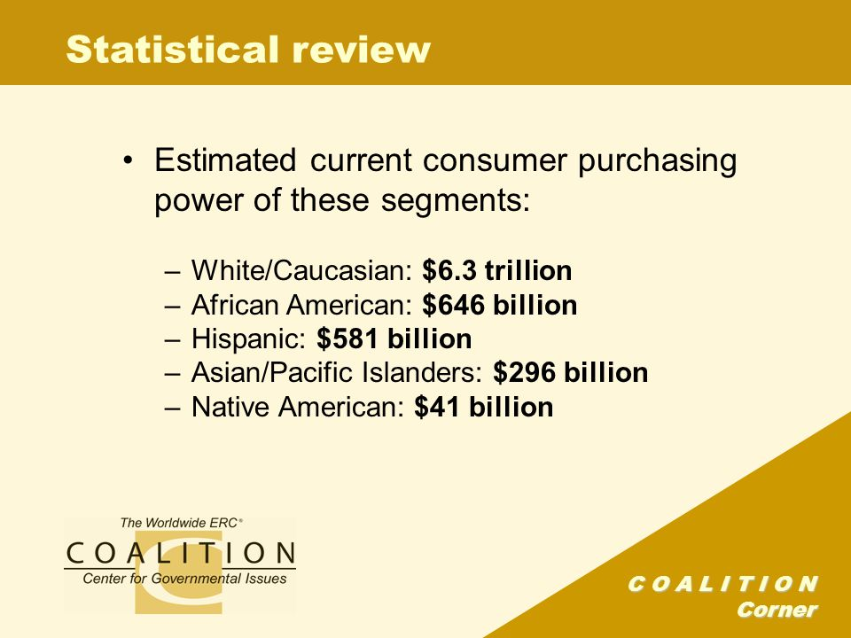 C O A L I T I O N Corner Statistical review Estimated current consumer purchasing power of these segments: –White/Caucasian: $6.3 trillion –African American: $646 billion –Hispanic: $581 billion –Asian/Pacific Islanders: $296 billion –Native American: $41 billion