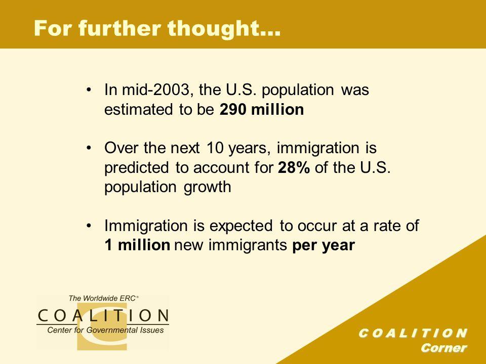 C O A L I T I O N Corner For further thought… In mid-2003, the U.S.