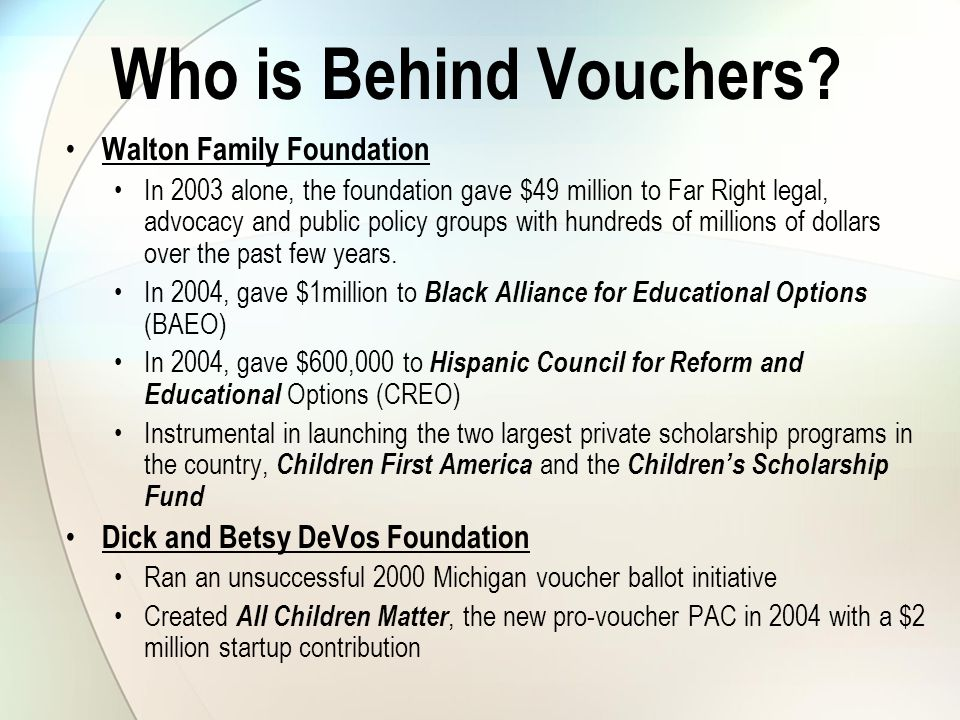 Who is Behind Vouchers.