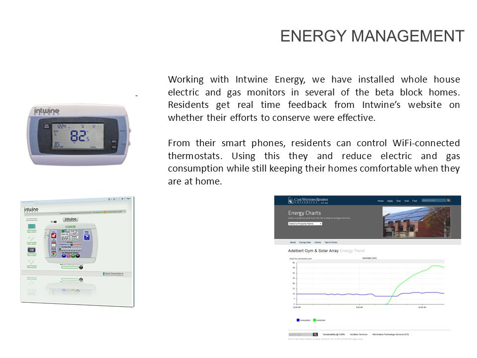 Working with Intwine Energy, we have installed whole house electric and gas monitors in several of the beta block homes.