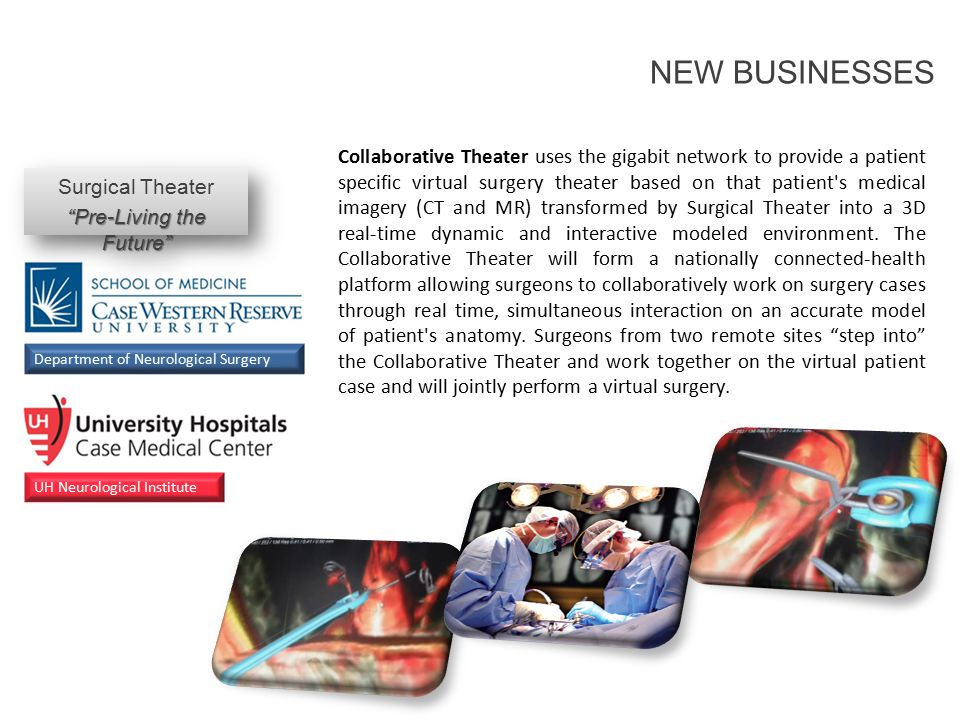 Collaborative Theater uses the gigabit network to provide a patient specific virtual surgery theater based on that patient s medical imagery (CT and MR) transformed by Surgical Theater into a 3D real-time dynamic and interactive modeled environment.