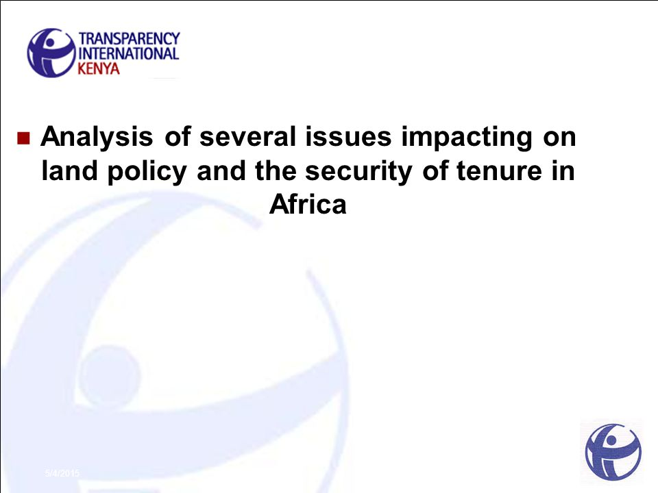 5/4/2015 Analysis of several issues impacting on land policy and the security of tenure in Africa