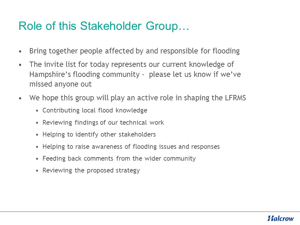 The LFRMS process… Stage 1 – Issues and Analysis -Develop vision and objectives -Develop stakeholder engagement plan -Assess current and future flood risk Stage 2 – Scheme Identification -Develop long list of schemes and projects -Consider funding sources Stage 3 – Draft Action Plan -Quantitative cost benefit assessment of long list -Prioritised list of schemes and interventions Stage 4 – Final Action Plan -Publish and launch LFRMS
