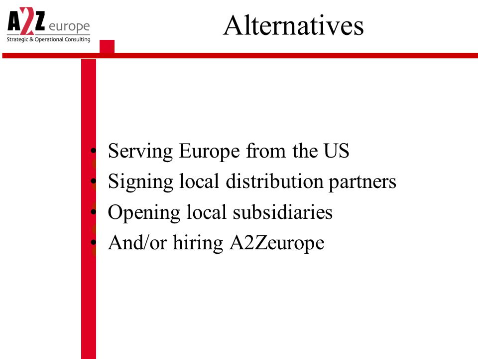 Alternatives Serving Europe from the US Signing local distribution partners Opening local subsidiaries And/or hiring A2Zeurope
