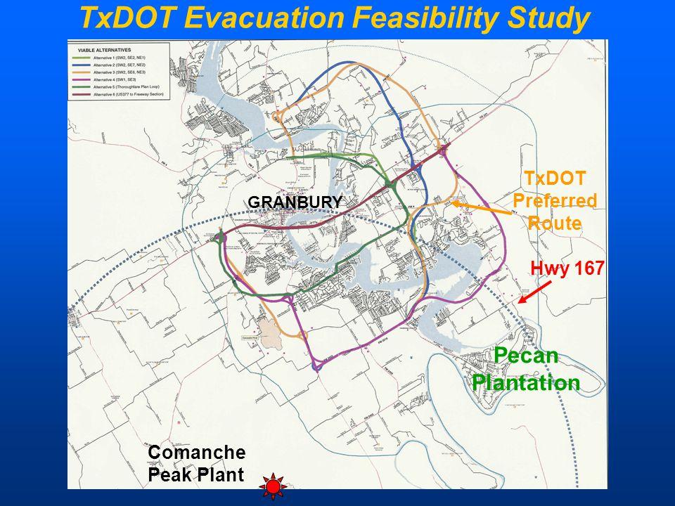 TxDOT Evacuation Feasibility Study GRANBURY TxDOT Preferred Route Hwy 167 Pecan Plantation Comanche Peak Plant