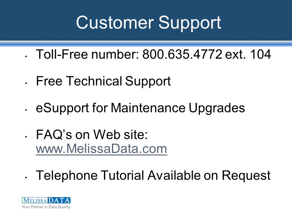 Customer Support Toll-Free number: 800.635.4772 ext.
