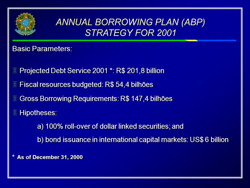 ANNUAL BORROWING PLAN (ABP) STRATEGY FOR 2001 Basic Parameters: Projected Debt Service 2001 *: R$ 201,8 billion Fiscal resources budgeted: R$ 54,4 bilhões Gross Borrowing Requirements: R$ 147,4 bilhões Hipotheses: a) 100% roll-over of dollar linked securities; and b) bond issuance in international capital markets: US$ 6 billion * As of December 31, 2000 Basic Parameters:  Projected Debt Service 2001 *: R$ 201,8 billion  Fiscal resources budgeted: R$ 54,4 bilhões  Gross Borrowing Requirements: R$ 147,4 bilhões  Hipotheses: a) 100% roll-over of dollar linked securities; and b) bond issuance in international capital markets: US$ 6 billion * As of December 31, 2000