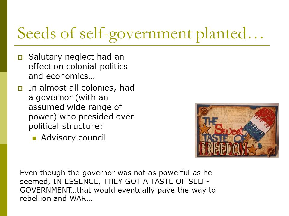 Seeds of self-government planted…  Salutary neglect had an effect on colonial politics and economics…  In almost all colonies, had a governor (with