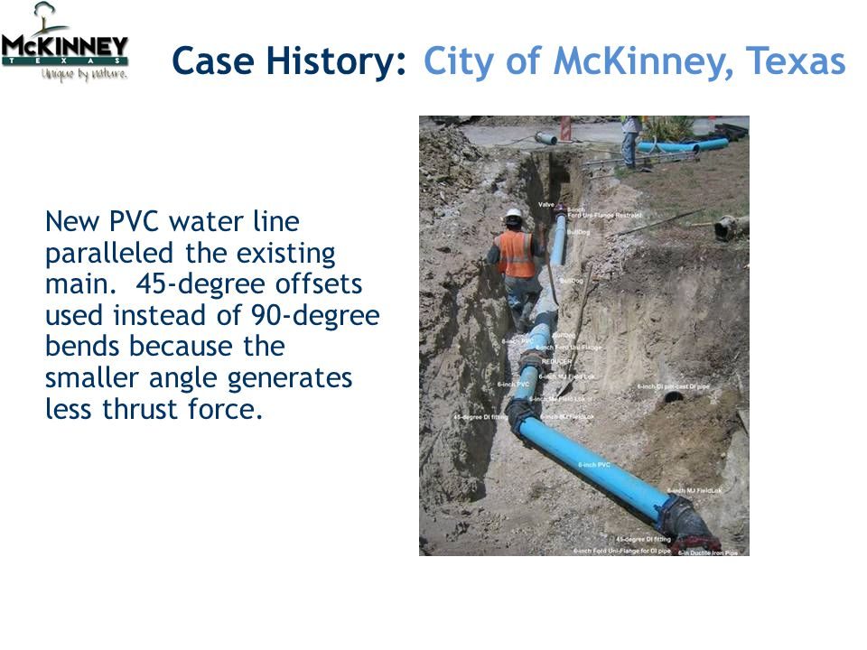Case History: City of McKinney, Texas New PVC water line paralleled the existing main.